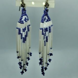 Handmade Native Beaded hanging Earrings